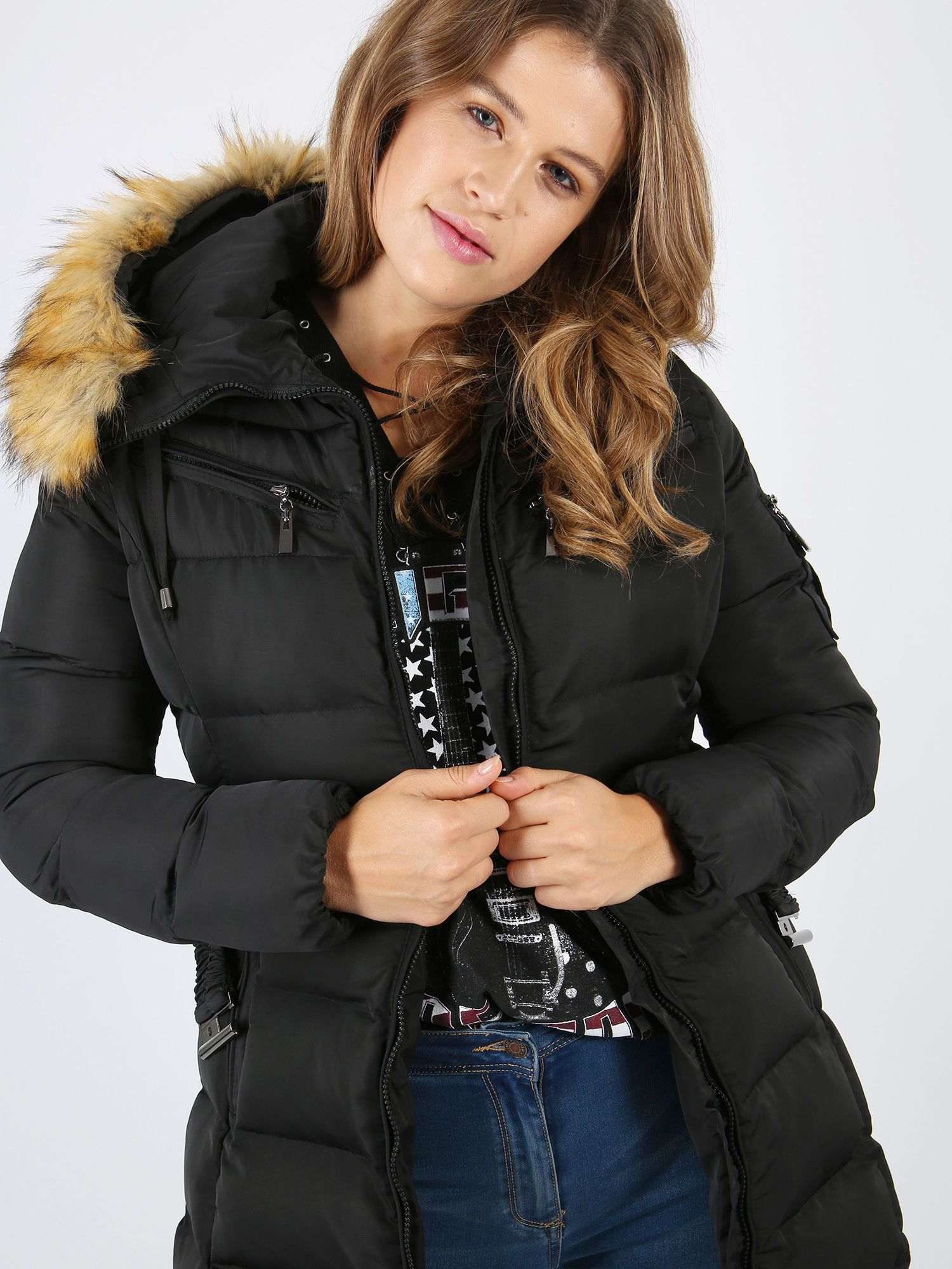 248e1888f Lovedrobe Black Long Belted Puffer Jacket